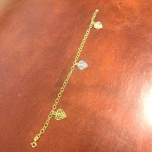 10k Gold Tri. Color Heart Bracelet